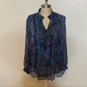 Coldwater Creek Pin-Tucked Print Blouse Sz